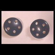 Vintage Hobe Navy Blue and Rhinestone Earrings