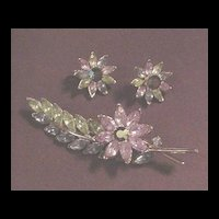 Superb Vintage Trifari Rhinestone Pin and Earrings