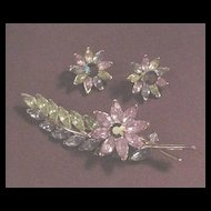 Superb Vintage Trifari Rhinestone Pin and Earrings