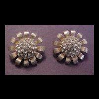 Vintage Weiss Citrine Rhinestone Earrings
