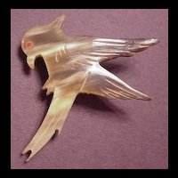 Vintage Carved Horn American Eagle Pin
