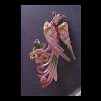 Celluloid and Rhinestone Bird of Paradise Pin