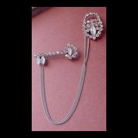 Vintage Rhinestone Key and Padlock Chatelaine Pin