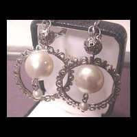 Vintage Jewelry Faux Pearl Drop Earrings