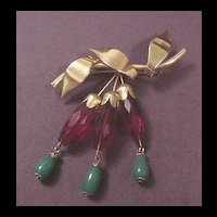 Vintage Jewelry Red Crystal and Faux Jade Drops Pin