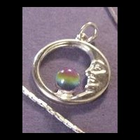 Vintage Jewelry Faux Tourmaline Pendant Man in the Moon
