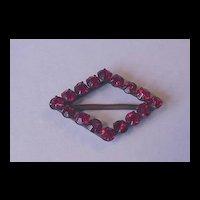 Vintage Jewelry Ruby Red Rhinestone Czech Buckle