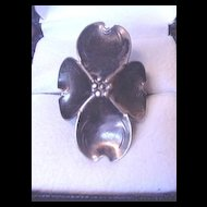 Vintage Costume Jewelry Nye Sterling Silver Dogwood Ring
