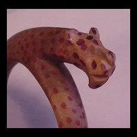 Vintage Jewelry Carved and Painted Leopard Bangle Bracelet