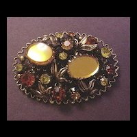 Vintage Costume Jewelry Orange and Gold Rhinestone Pin Austria