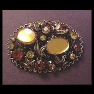 Vintage Costume Jewelry Orange and Gold Rhinestone Pin Austria