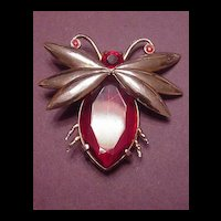 Vintage Jewelry Huge Red Rhinestone Bug or Moth Pin