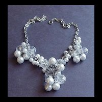 Vintage Jewelry Faux White Pearl Cluster Necklace