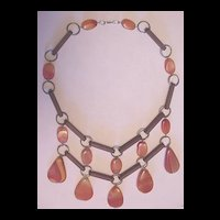 Vintage Jewelry Banded Agate and Rose Wood Dangling Bib Necklace