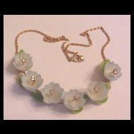 Vintage Jewelry Blue Buttercups and Rhinestones Necklace