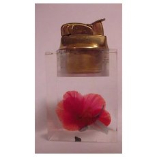 Vintage Clear Lucite Red Feather Flower Evans Table Lighter