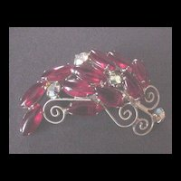 Vibrant Red Rhinestone Pin