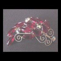 Vibrant Red Rhinestone Pin