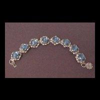 Silver Tone with Large Sapphire Blue Glass Beyond Rivoli Stones