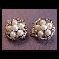 Jomaz Faux Pearl and Rhinestone Earrings