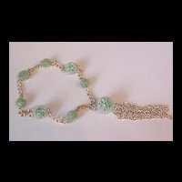 Vintage Green Raspberry bead Necklace