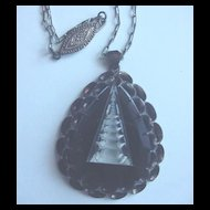 Vintge Silver and Black  Glass Carved Pagoda Pendant Necklace