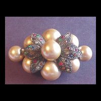 Vintage Faux Pearl Bauble / Bubble Pin with Rhinestones