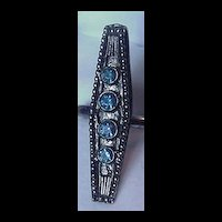Vintage Victorian Revival Ring by Vogue with Blue Rhinestones
