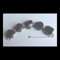 Huge Vintage Black Glass Bracelet