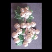 Vintage Large Bauble / Faux Pearl Dangle Pin