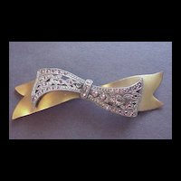 Early Retro Brass and Pot Metal with Rhinestones Bow Pin