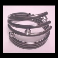 Pewter Color Twisted Tube Design and Rhinestone Bracelet
