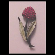 Japanned with Green Enamel and Red Rhinestones Cherry Fruit Pin