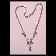 Leo Glass Sapphire Blue Rhinestone Necklace