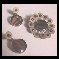 Vintage Glass Tiger's Eye and Rhinestone Pin and Earrings