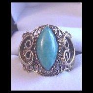 Vintage Victorian Revival Filigree Green Rhinestone Ring