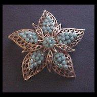 Vintage Turquoise Rhinestone Flower Brooch