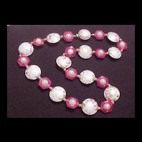 Vintage Jewelry Pink Flying Saucer Beads Necklace