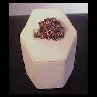 Vintage Purple Rhinestone Cluster Ring
