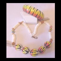 Vintage Painted Big Cat Stripes Necklace and Bangle Bracelet with Tags