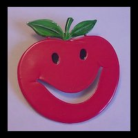 Vintage Big Cherry / Apple Enameled Fruit Pin