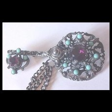 Vintage Huge Victorian Revival Key Motif Chatelaine Pin with Amethyst and Turquoise Glass