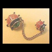 Vintage Lady Bug Chatelaine Pin