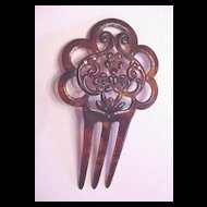 Vintage Celluloid Hair Comb with Red Rhinestones
