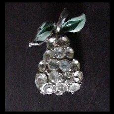 Vintage Rhinestone Fruit / Pear Pin