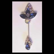 Blue Glass Rhinestone Hat Pin