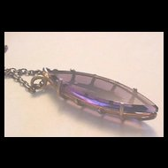 Long and Slender Amethyst Glass Navette Shaped Pendant Necklace