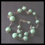 Old Brass and Variegated Green Glass Beads Necklace with Key Hole Links