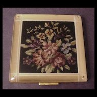 Large Compact Faux Petit Point Under Beveled and Reverse Carved Lucite
