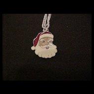 Vintage Sterling Silver Enameled Santa Claus Christmas Charm